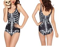 Wholesale Skeleton Skull Fashion Swimsuit Swimming Suit One Piece Swimwear MECHANICAL Black and WHITE RIBS Alternative SWIMSUIT