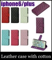 Cheap Iphone 6 plus Case Luxury case Best Flip Leather cotton checked glid Wallets
