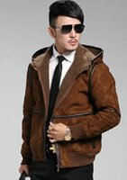 air jacke - Fall Europe and United States Air Force men s brand short section of fur suede leather hooded lambs wool casual leather jacket jacke