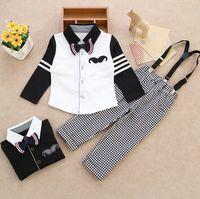 Cheap Baby boys clothes set long sleeve shirts + plaid suspender trousers kids clothing sets pure cotton leisure child two-piece suit ab986