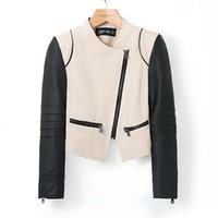 leather jackets for women - 2014 Fashions Color Block Long Sleeves Zipper Modern Style Faux Leather Jacket For Women