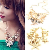 bib necklace set - Charm Chunky Gold Tone Sea Shell Starfish Faux Pearl Bib Statement Necklace Bracelet Set