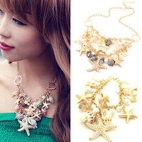 Wholesale Charm Chunky Gold Tone Sea Shell Starfish Faux Pearl Bib Statement Necklace Bracelet Set