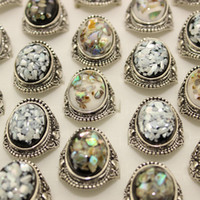 Wholesale Silver Plating Luxury Amber Opal Man Ring Jewelry Vintage Ring Colorful Natural Stone Centre Rings Ancient Silver Gemstone Rings