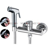 Wholesale NEW Cold and Hot Bathroom Toilet ABS Bidet Sprayer Copper Faucet Set Multifunction Pressurized Spray set Shower mixer T31