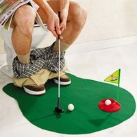 Wholesale Golf Balls NEW TOILET MINI GOLF GAME POTTY PUTTER GOLF TRAINER FUN GAME NOVELTY GIFT EASY TOILET Golf Potty Putter Perfect Putting Game