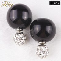 Wholesale New products Double pearl stud earrings pearl with crystal bead stud