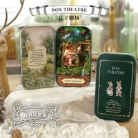 Wholesale Forest rhapsody Box theatre DIY Mini Doll house D Miniature Colored Lights Metal box Dolls Wooden support Furnitures Decoration