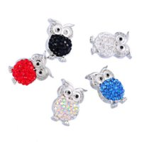 Wholesale Fashion Rhinestone Owl Shaped Snap Buttons Fit Snap Button Bracelet Polymer Clay x16mm K85670 buttons novelty