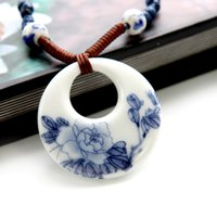 Cheap Jingdezhen Blue & White Porcelain pendant necklaces Peony column Porcelain Necklace fashion Jewelry chinese traditional arts gifts for women