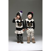 sport clothing wholesale - 2015 spring new Children Suits boys girls cute mickey sets kids cotton leisure clothing children sport sets A5677