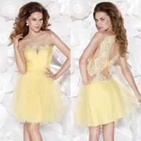 Wholesale 2015 Cute Sweetheart Sheer Illusion Short Party Dress Hollow Back Hows Lace Prom Dress Cocktail Dress Tarik Ediz Collection EM03704