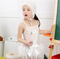 baby girl one piece - Hot Baby Girls Swan Suits Hat Kids Girls Cotton Lace Bow One piece Babies Cute Cartoon Swimsuits Children s Summer Outfits