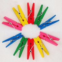 Wholesale mm colored Mini Wooden clothes peg clips wooden clothespins for home clothes