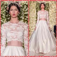 Wholesale Two Pieces Embroidery Lace Long Sleeve A Line Wedding Dresses Chapel Train Bridal Gowns Custom Vestidos De Novia Spring Zuhair Murad