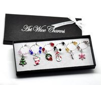 christmas box - 1 Box Mixed Christmas Wine Glass Charms Table Decorations W Box x25mm x25mm