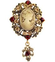 american beauty stars - 2016 European and American jewelry retro beauty head brooch crystal brooch brooch alloy diamond accessories custom