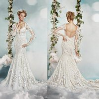 artificial wave - Scoop Full Lace Wedding Dresses Open Back D FLORAL Artificial Bridal Dresses Summer Mermaid Half Sleeves Illusion Wedding Gowns
