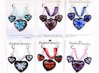 agate heart pendant - Mixed Agate Lampwork Gemstone Heart Pendant Necklace Earrings Set