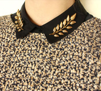 asian collar shirt - 2015 New Fashion alloy golden plated ears wheat leaves retro shirt men women collar brooch pin collar Jewelry