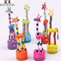 alphabet giraffe - set colorful rocking giraffe Educational Vat Spring Shaking Animal Children Finger Toy Baby Play Fun Wood Toy