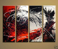 contemporary oil paintings - handmade piece black white red contemporary abstract decorative oil painting on canvas wall art pictures for home decoration