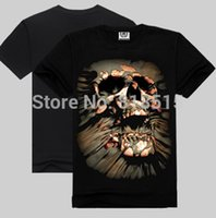 Cheap Summer 3D Skull printing short sleeved t shirts for mens casual cotton tops tees Rock clothing male bottoming sport tshirts