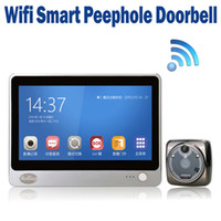 Wholesale Android OS Wireless Video Wifi Door Bell Phone Viewer Peephole inch LCD MP Camera Motion Detection Night Vision GSM Alarm