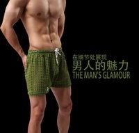 Wholesale Sexy Mens see through Holes net mesh gauze Sheer home causal beach board home shorts running sport gay man boardshorts