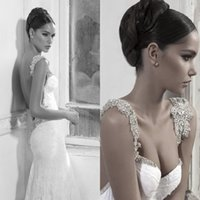 Wholesale New Style Inbal Dror Wedding Dress Lace White Mermaid Bridal Gowns Shining Backless Wedding Gowns With Beads Crystal Sweep Train Bride Gown