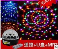 Wholesale LED light magic crystal ball with MP3 music U remote control disc strobe disco ballroom lights The laser light KTV lamp box disco bar