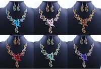 earrings fashion earrings - 6 Colors Women Butterfly Flower Rhinestone Pendant Statement Necklace Earrings Jewelry Set Fashion Jewelry Bridal Wedding Dress Jewelry Sets