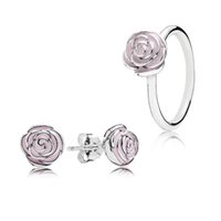 Cheap 3pcs 925 Sterling Silver Women Pink Enamel Rose Ring And Earring Set Fits European Style Custom Jewelry Set BR020