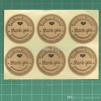 Wholesale 100pcs Thank You love self adhesive stickers kraft label sticker Diameter CM For DIY Hand Made Gift Cake Candy paper tags A3