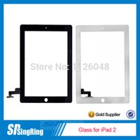 Wholesale 50 for iPad Touch Screen Glass Digitizer Assembly with M Adhesive Glue Sticker Replacement Black White
