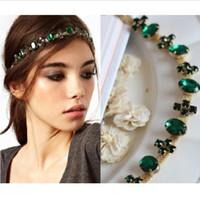 Wholesale Boho Girl Green Cross Crystal Head Chain Headpiece Elastic Hair Band Accessories