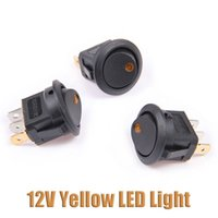 Wholesale New Car Boat Round Dot Yellow LED Light Rocker Indicator Switches Pin ON OFF V DC