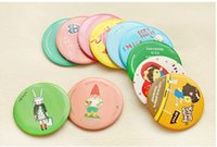 Wholesale Lovely cartoon cosmetic mini mirrors makeup vanity mirror collapsible different colors different pattern portable travel bag gift mirror