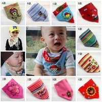 bib material - Bandana Bibs Neonatal Plaid scarves triangle knit bib Environmentally friendly materials cotton bibs baby accessories