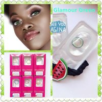 contact case - Freeshipping free case colored contact lenses glamour green contact lens