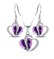 a960 - Women Girls Lady high quality zircon Heart Crystal Amethyst Pendant Necklace and earrings fashion jewelry sets a960
