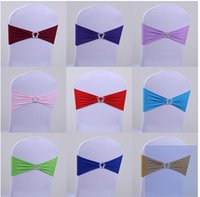 Wholesale Wedding Party Banquet D milk silk spandex Sash Bows For Chair Cover come with crown button for Wedding Decorations