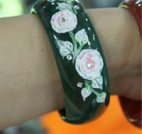 Wholesale Natural AAA green agate flower bracelet hand carved charm luck bangle