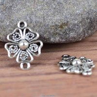 Wholesale 40PCS Tibetan Silver tone Alloy Flower Charm Connectors For Jewelry Finding x21mm hole size mm A5