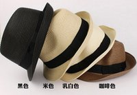 Wholesale Trendy Unisex Fedora Trilby Gangster Cap For Women Summer Beach Sun Straw Panama Hats for Women Men Fashion Cool Hats DHL Free