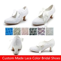Wholesale Cheap White Ivory Lace Bridal Shoes Wedges For Weddings Women Low Heels Cheap Bohemian Custom Made Vintage Country Bridesmaids Dress Shoes