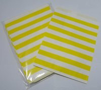 Cheap 100pcs Yellow Horizontal stripes printed Food Grease proof paper Bag Favor Gift Packaging For Wedding Birthday Party Supply