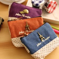 Cheap 4 pcsLot Mini wallet Vintage pairs coin purse Zakka Storage bag Organizer for credit card holder Key pouch case 6341