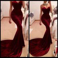 best vintage wine - Best Selling Unique Designer Burgundy Mermaid Prom Dresses Women Long Train Flattered Fitted Red Wine Velvet Elegant Party Gowns