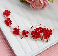 Cheap 2016 Red Clear Wedding Bridal Crystal Tiara Crowns For Pageant Prom Party Occasion Rhinestone Veil Tiara Headband Wedding Hair Accessory